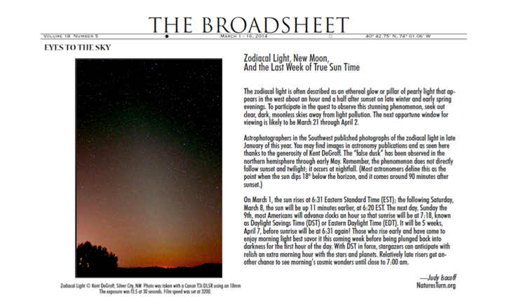 Eyes to the sky in The Broadsheet
